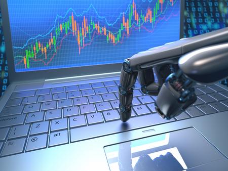 teclado: mano de robot, ordenando en un teclado port�til, un comercio de intercambio. sistema de comercio robot es un programa de comercio de equipo que env�a autom�ticamente los oficios de un intercambio sin ning�n tipo de intervenci�n humana. Profundidad de campo con enfoque en el dedo. Foto de archivo