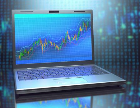 klawiatura: Laptop z wykresu inwestycyjnego. Koncepcja inwestycji przez Home Broker. Zdjęcie Seryjne