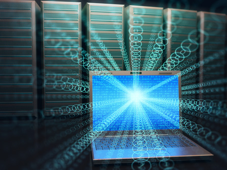 information science: Image concept of technology and science of digital information. One laptop in front of multiple servers with binary numbers on screen.