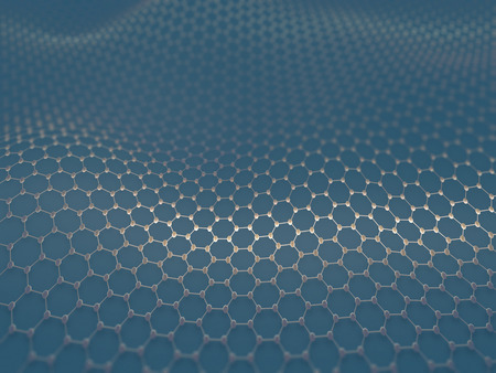 nanotechnology: Several molecules connected, crystallized in the hexagonal system, concept of a carbon structure. Stock Photo