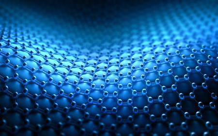 六角形のシステムでは、炭素構造の概念に結晶化されたいくつかの分子が接続されています。 写真素材