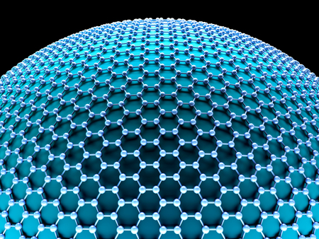 atomic structure: Several molecules connected, crystallized in the hexagonal system, concept of a carbon structure. Clipping path included.
