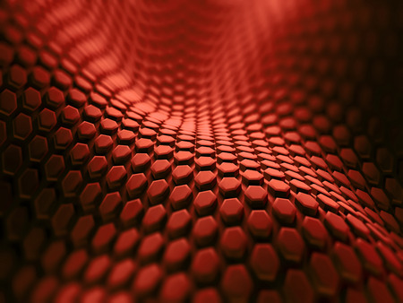 Abstract background with hexagonal shapes in red.