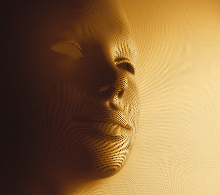 Textured human face in golden mask format.
