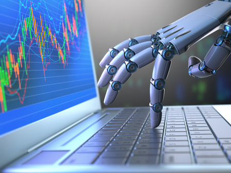 robot: mano de robot, ordenando en un teclado portátil, un comercio de intercambio. sistema de comercio robot es un programa de comercio de equipo que envía automáticamente los oficios de un intercambio sin ningún tipo de intervención humana. Profundidad de campo con enfoque en el dedo. Foto de archivo