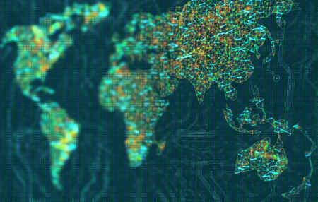 Asia and Oceania in focus. The map of the world represented by illuminated digital connections. 3D image with depth of field on a LED screen. Stock Photo