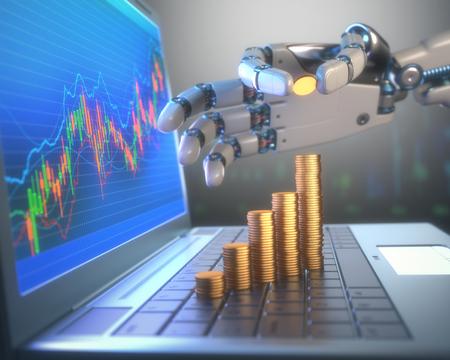 3D-Bild Konzept der Software (Robot Trading System) an der Börse verwendet, die automatisch Trades zu einem Austausch ohne menschliche Eingriffe einreicht. Ein Roboter-Hand zählen Geld in graphischer Form auf dem Vormarsch. Tiefe des Feldes mit dem Schwerpunkt auf der Gold coi