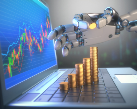 automatically: 3D image concept of software (Robot Trading System) used in the stock market that automatically submits trades to an exchange without any human interventions. A robot hand counting money in graph form on the rise. Depth of field with focus on the gold coi Stock Photo