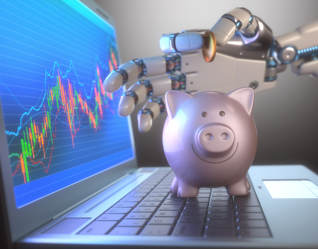 automatically: Image concept of software (Robot Trading System) used in the stock market that automatically submits trades to an exchange without any human interventions. The robot hand is depositing coin into piggy bank.