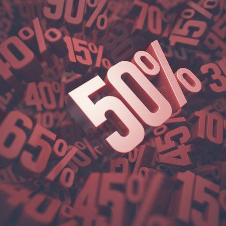 fifty: 3D image concept of fifty percent discount. Clipping path included.