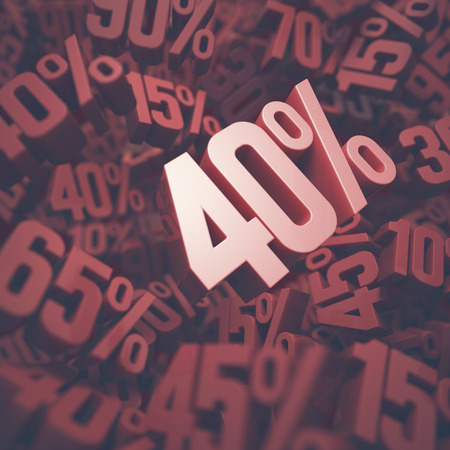 forty: 3D image concept of forty percent discount. Clipping path included.