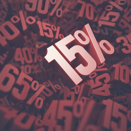 fifteen: 3D image concept of fifteen percent discount. Clipping path included.