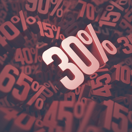 thirty: 3D image concept of thirty percent discount. Clipping path included.