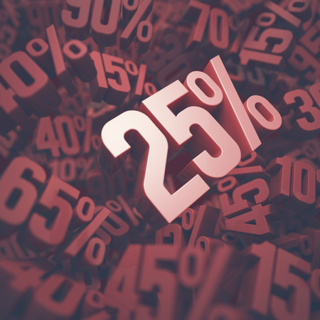 twenty: 3D image concept of twenty five percent discount. Clipping path included. Stock Photo