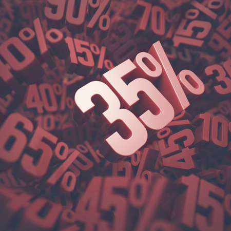 thirty five: 3D image concept of thirty five percent discount. Clipping path included.