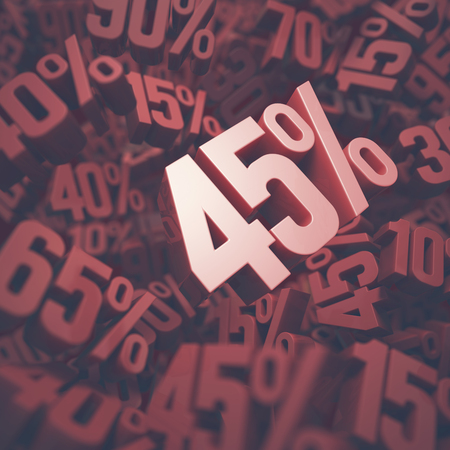 forty: 3D image concept of forty five percent discount. Clipping path included.
