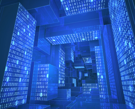 Tunnel composed by zeros and ones in a concept of cloud computing, data storage and processing.