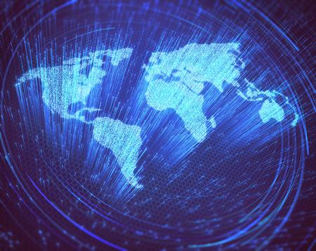 Optische Fasern in der Form der Weltkarte beleuchtet. 3D-Bild Konzept der globalen Kommunikation durch optische Faser. Standard-Bild