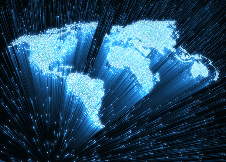 optical image: Optical fibers lit in the shape of the world map. 3D image concept of global communication by optical fiber.