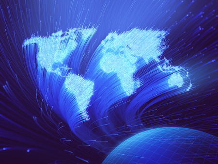 Optical fibers lit in the shape of the world map. 3D image concept of global communication by optical fiber.