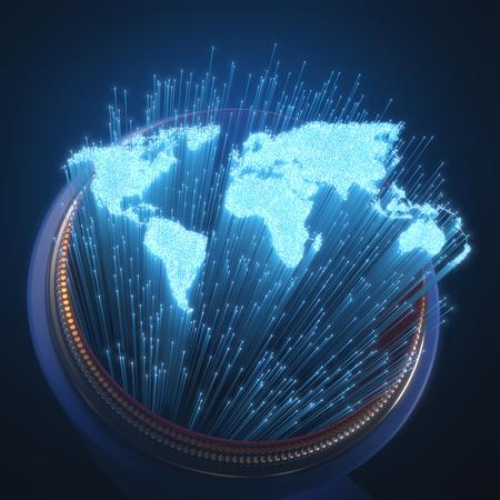 Las fibras ópticas se iluminaron con la forma del mapa del mundo. concepto de imagen 3D de la comunicación global por la fibra óptica. Foto de archivo