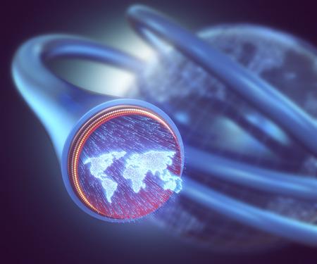 Las fibras ópticas se iluminaron con la forma del mapa del mundo. concepto de imagen 3D de la comunicación global por la fibra óptica.
