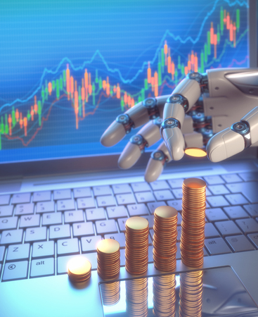 interventions: 3D image concept of software (Robot Trading System) used in the stock market that automatically submits trades to an exchange without any human interventions. A robot hand counting money in graph form on the rise. Depth of field with focus on the gold coi Stock Photo