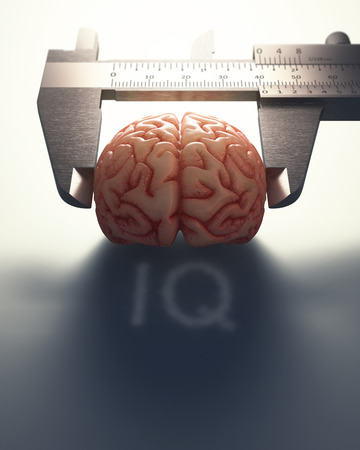 calliper: 3D image concept of a caliper ruler measuring a human brain. It is a concept of the differences of the human mind.
