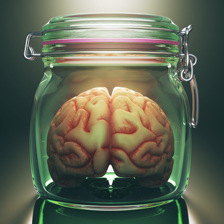 brainstorm: Concept image of a brain inside an hermetic glass storage. Clipping path included.