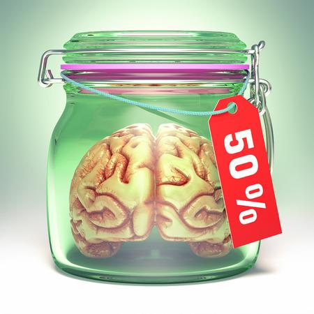 hermetic: Brain inside an airtight glass jar, with a 50% label.