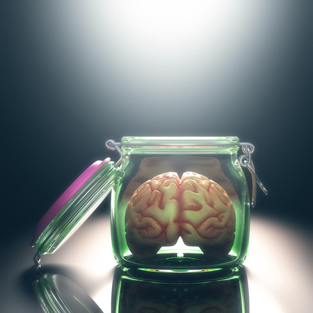 free your mind: Brain in the pot with the lid open. Open and free mind concept. Your text on the light. Clipping path included.