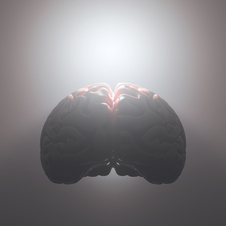 open minded: Brain floating with a strong light coming from inside. Open and free mind concept. Your text on the light. Clipping path included.