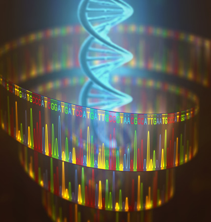 amplification: 3D illustration of a method of DNA sequencing.