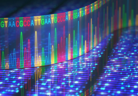 dna sequencing: 3D illustration of a method of DNA sequencing.