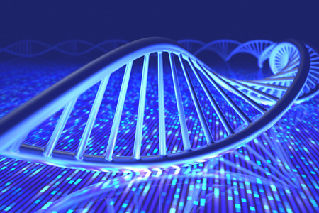 deoxyribonucleic acid: 3D illustration, concept of DNA and Senger sequence. Stock Photo