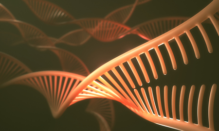 mutation: 3D illustration, concept of DNA and Senger sequence. Stock Photo