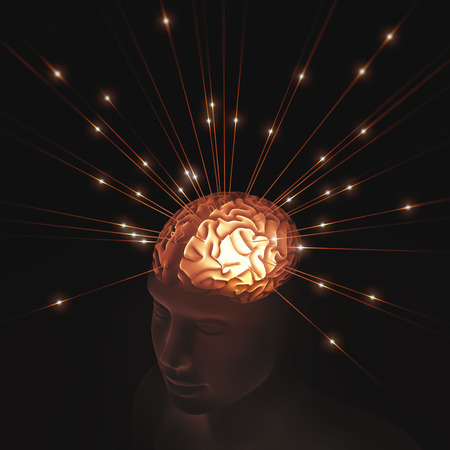 open minded: Human head translucent illuminated by pulses of energy entering the brain.