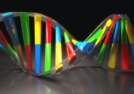 guanine: 3D illustration, colorful dna, concept of genetic engineering or genetic modification.