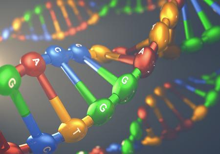 Ilustración 3D, colorido ADN, el concepto de la ingeniería genética o la modificación genética.