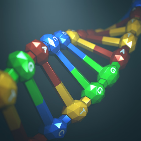 mutation: 3D illustration, colorful dna, concept of genetic engineering or genetic modification.