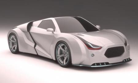 concepto: Ilustración 3D, prototipo de automóvil sin referencia basado en vehículos reales. Aseguramiento camino. Foto de archivo