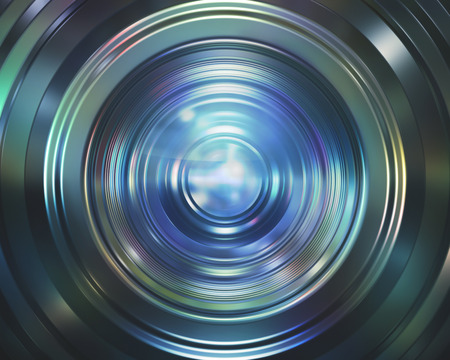 Camera lens reflecting the colored lights.