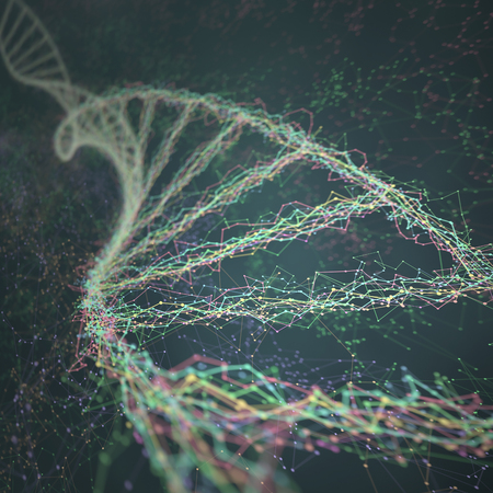 deoxyribonucleic acid: 3D illustration. Dna helix connected by nodes and connections colored.