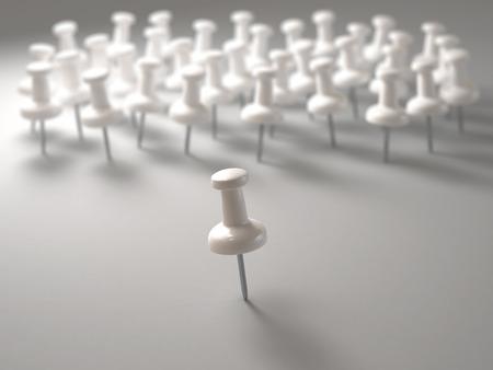batallón: Ilustración 3D. pin blanca delante de todo el mundo en el concepto de liderazgo.