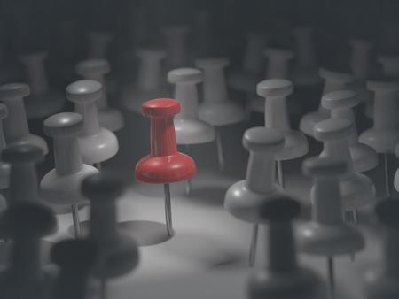 batallón: Ilustración 3D. Destacado pin rojo entre otros todo blanco.