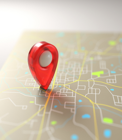 global positioning system: 3D illustration. GPS mark on the road map.