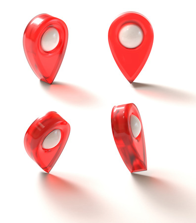 navigational: 3D illustration. GPS mark on the white surface. Clipping path included. Stock Photo