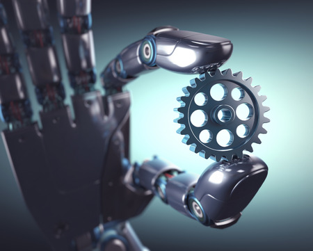 3D 그림. 로봇 손은 기어를 들고. 기계 공학 및 자동화의 개념입니다.