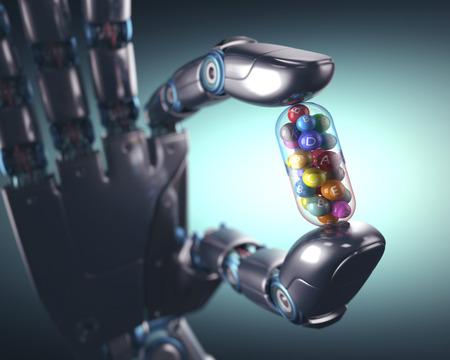 multivitamin: 3D illustration. Robot hand holding a multivitamin pill.