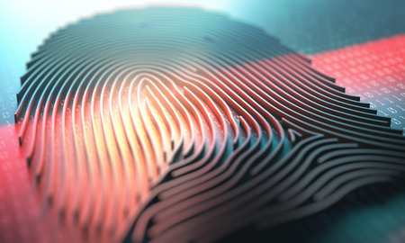3d illustration of a laser scanner on a fingerprint embossed. Stock Photo